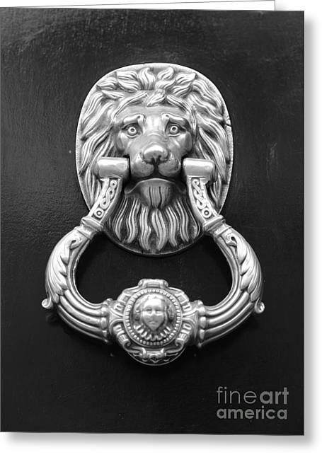 Lion Head Door Knocker - Black And White Greeting Card