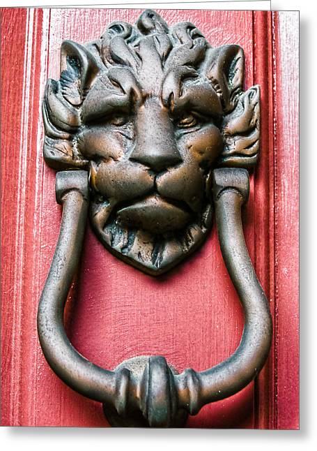 Lion Head Door Knocker Greeting Card