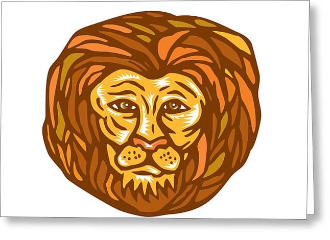 Lion Head Woodcut Linocut Greeting Card by Aloysius Patrimonio