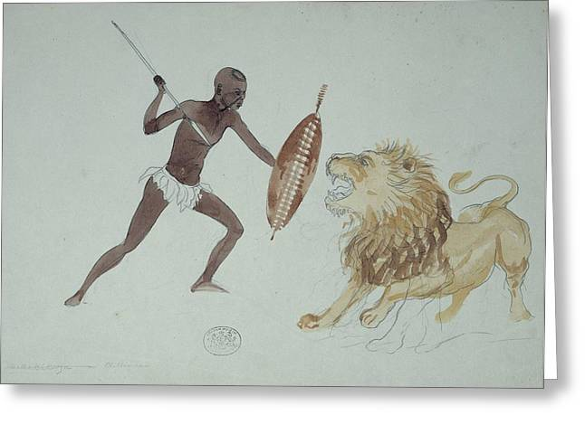 Lion Hunting, Artwork Greeting Card by Science Photo Library