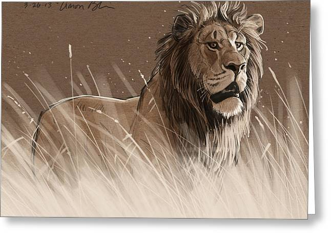 Lion In The Grass Greeting Card by Aaron Blaise