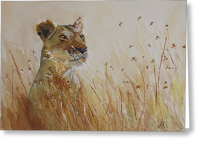 Lion In The Weeds Greeting Card by Maris Sherwood