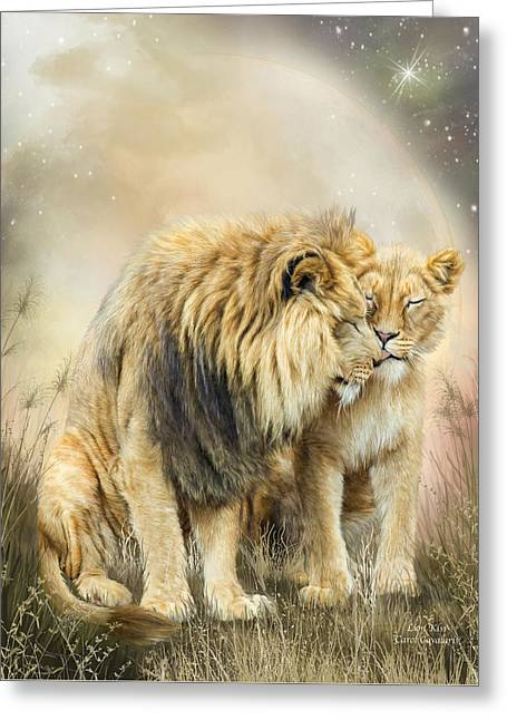 Lion Kiss Greeting Card by Carol Cavalaris