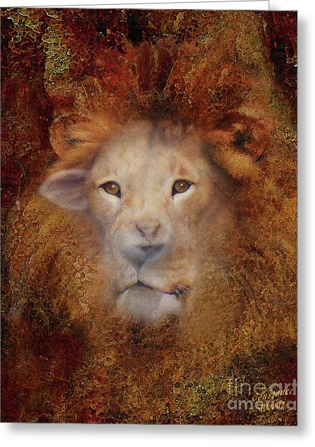 Lion Lamb Face Greeting Card