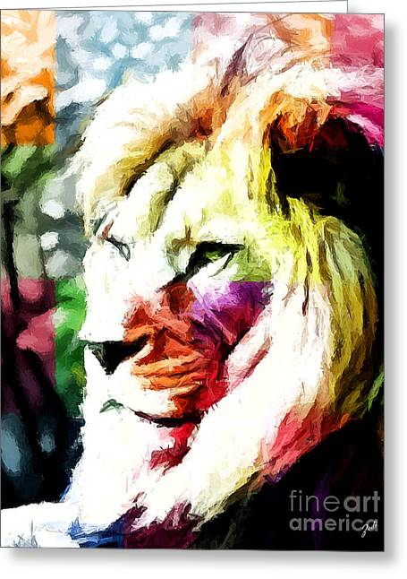 Lion - Leone Greeting Card by Ze  Di