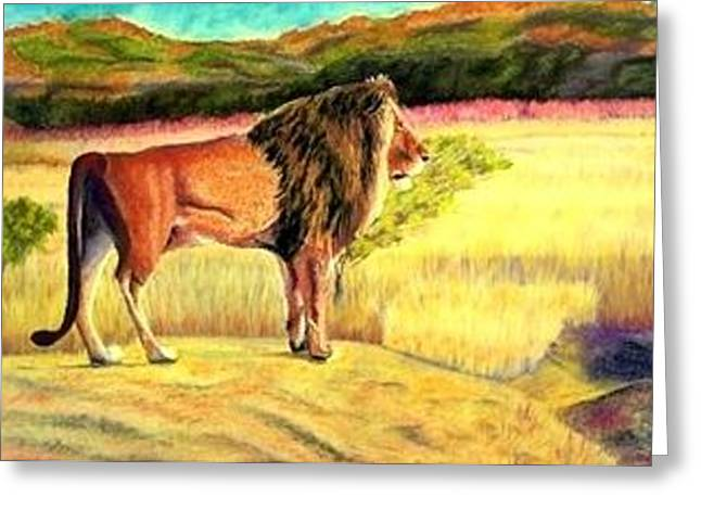 Lion Observing Greeting Card by Jay Johnston