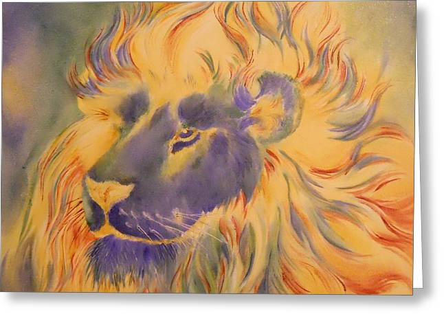 Lion Of Another Color Greeting Card by Summer Celeste