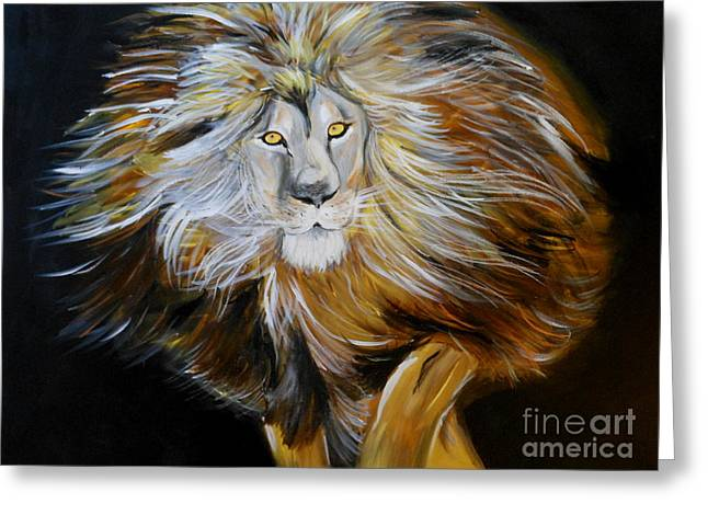 Greeting Card featuring the painting Lion Of Judah by Amanda Dinan