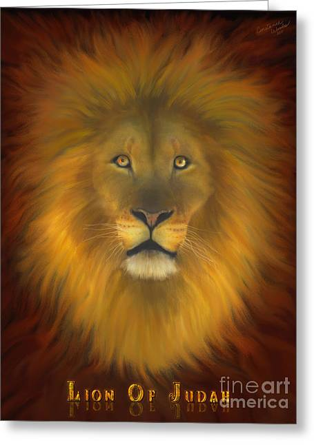 Lion Of Judah Fire In His Eyes 2 Greeting Card by Constance Woods