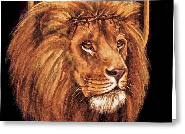 Lion Of Judah - Menorah Greeting Card by Bob and Nadine Johnston