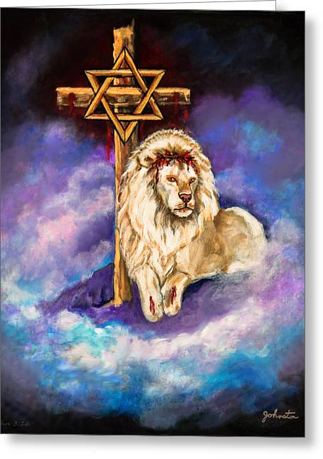 Lion Of Judah Original Painting Forsale Greeting Card by Nadine Johnston