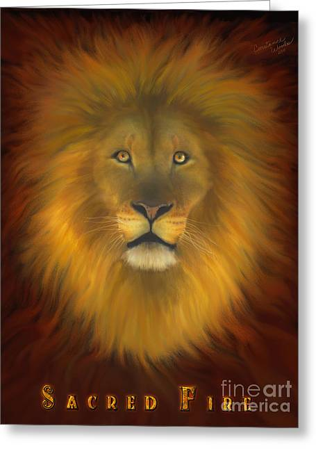 Lion Of Judah Sacred Fire Greeting Card by Constance Woods