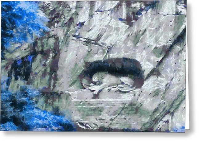 Lion Of Lucerne Greeting Card by Dan Sproul