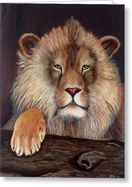 Lion Greeting Card by Renate Voigt
