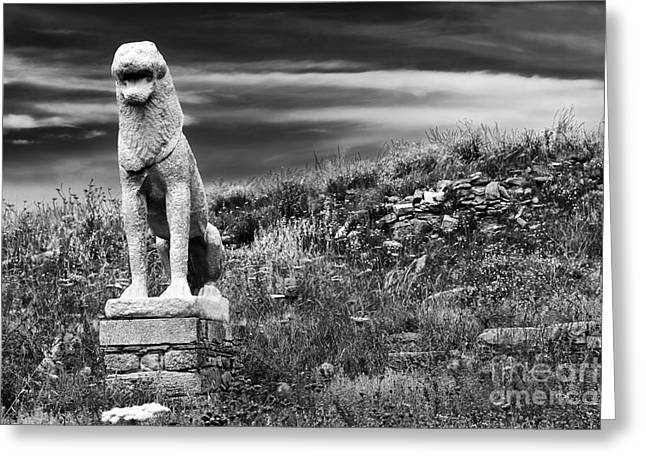 Lion Ruins On Delos Island Greeting Card by John Rizzuto