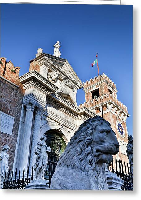 Lion Statue In Front Of Arsenal, Venice Greeting Card