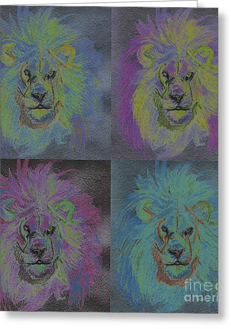 Lion X 4 Color  By Jrr Greeting Card by First Star Art