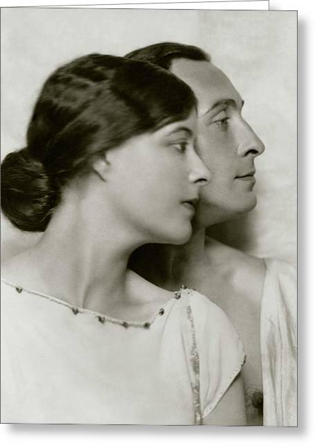 Lionel Atwill And Elsie Mackey Greeting Card by Nicholas Muray