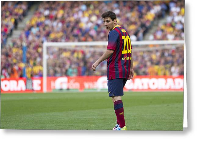 Greeting Card featuring the photograph Lionel Messi by Nathan Rupert