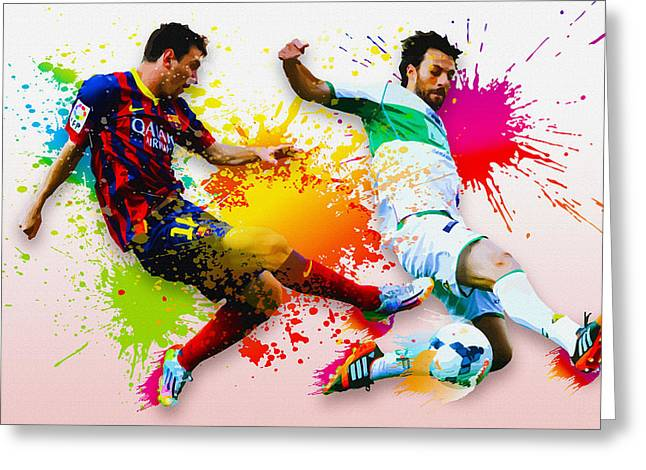 Lionel Messi Of Fc Barcelona Greeting Card