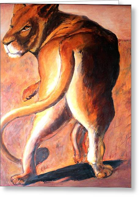 Greeting Card featuring the painting Lioness by Rosemarie Hakim