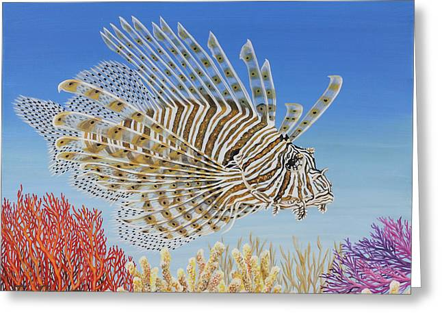 Greeting Card featuring the painting Lionfish And Coral by Jane Girardot