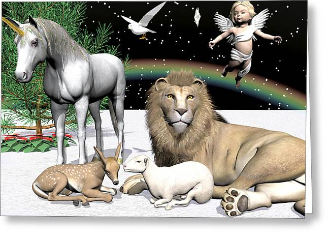 Lions And Lamb Greeting Card