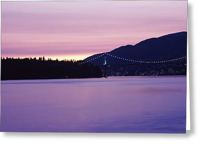 Lions Gate Bridge At Dusk, Vancouver Greeting Card by Panoramic Images