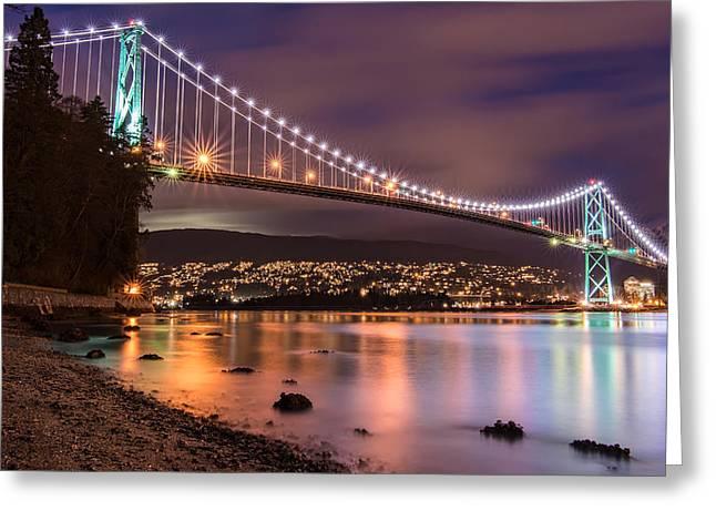 Lions Gate Bridge At Night Greeting Card