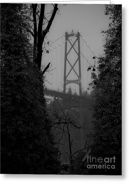 Lions Gate Bridge Greeting Card by Nancy Harrison