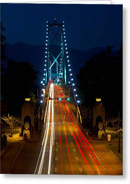 Lions Gate Bridge Traffic Greeting Card by Michael Russell