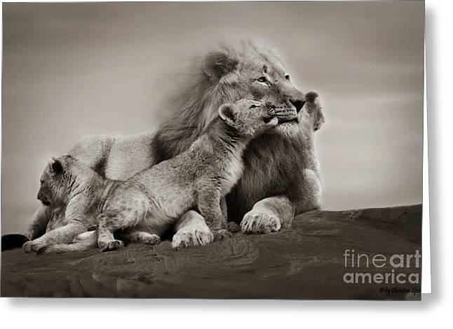 Greeting Card featuring the photograph Lions In Freedom by Christine Sponchia