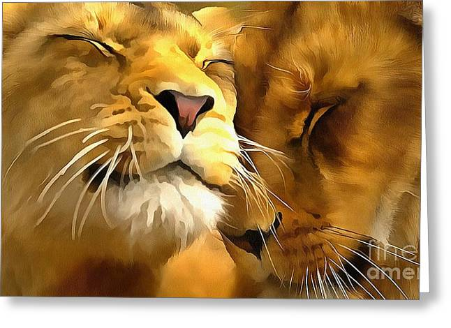 Lions In Love Greeting Card