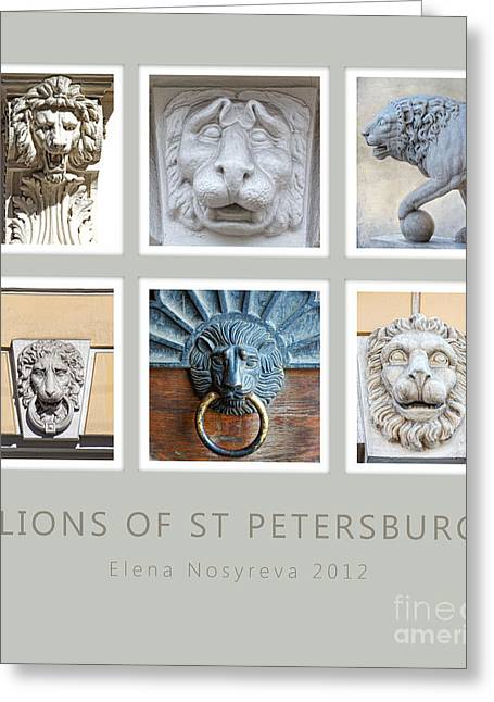 Lions Of St Petersburg Greeting Card by Elena Nosyreva