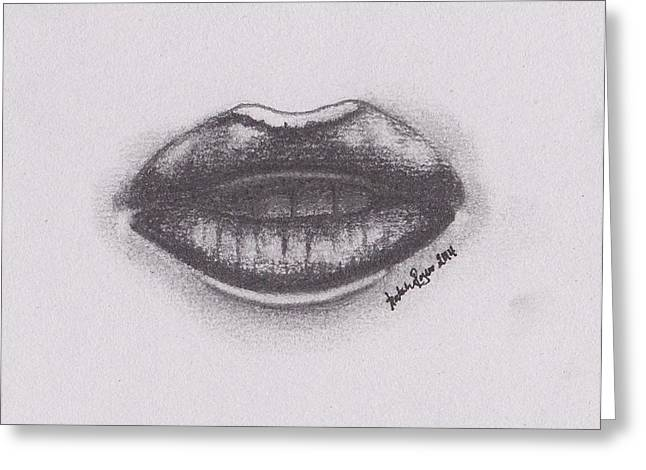 Lips Greeting Card by Natalie Rogers