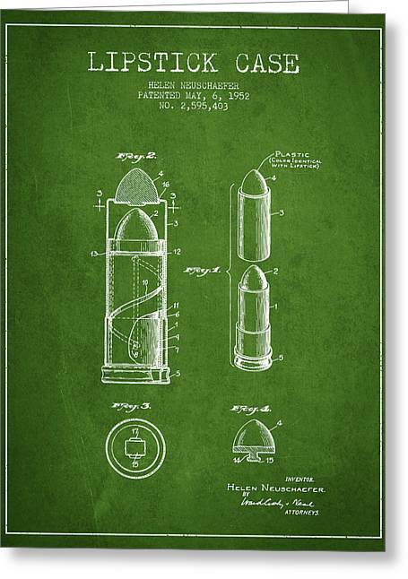 Lipstick Case Patent From 1952 - Green Greeting Card