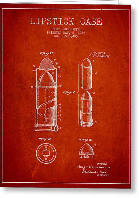 Lipstick Case Patent From 1952 - Red Greeting Card