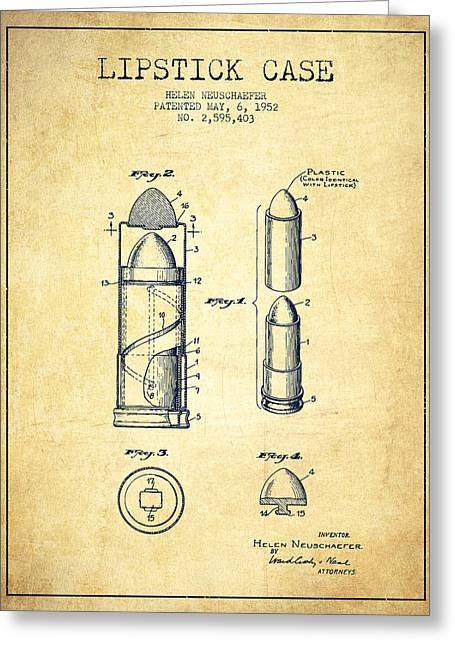 Lipstick Case Patent From 1952 - Vintage Greeting Card by Aged Pixel