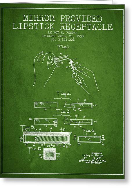 Lipstick Mirror Patent From 1938 - Green Greeting Card