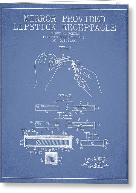 Lipstick Mirror Patent From 1938 - Light Blue Greeting Card