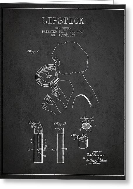 Lipstick Patent From 1926 - Charcoal Greeting Card by Aged Pixel