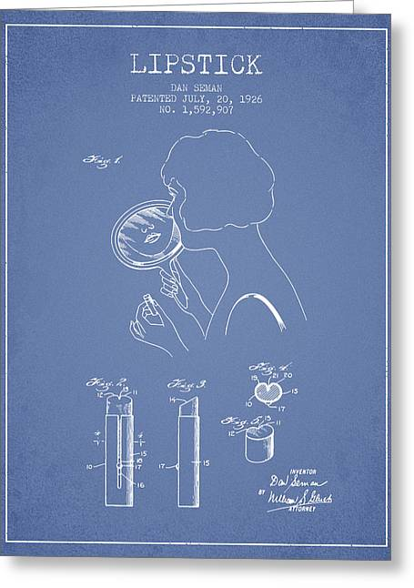 Lipstick Patent From 1926 - Light Blue Greeting Card by Aged Pixel