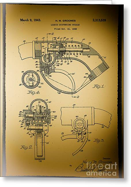 Greeting Card featuring the photograph Liquid Dispensing Nozzel Patent by JRP Photography