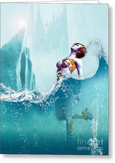 Greeting Card featuring the digital art Liquid Fantasy by Sandra Bauser Digital Art