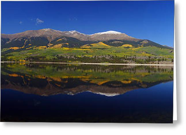Liquid Mirror Panorama Greeting Card by Jeremy Rhoades