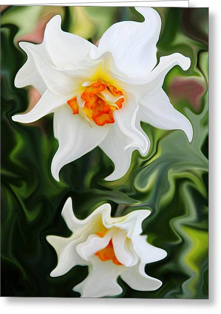 Liquid Narcissus Greeting Card by Mary Burr