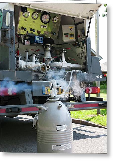 Liquid Nitrogen Delivery Greeting Card by Dr P. Marazzi