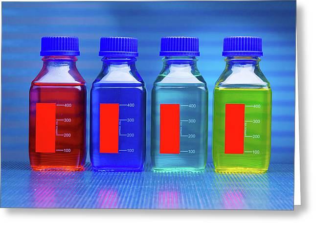 Liquids In Bottles Greeting Card by Wladimir Bulgar