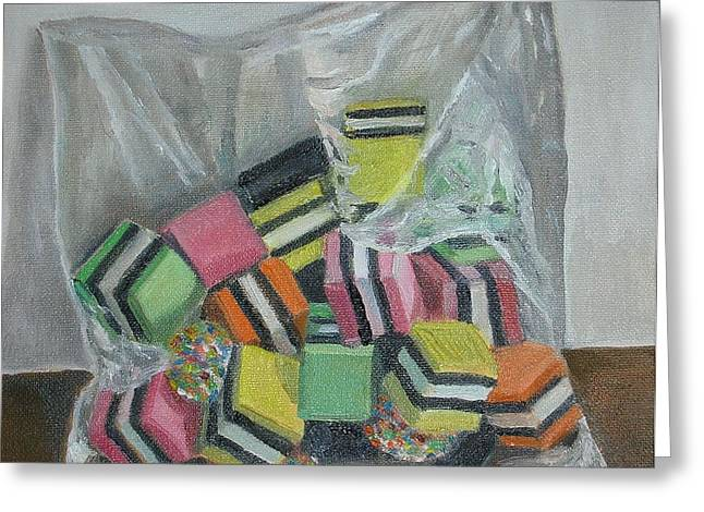 Liquorice Allsorts, 2004, Oil On Canvas Greeting Card by Ruth Addinall