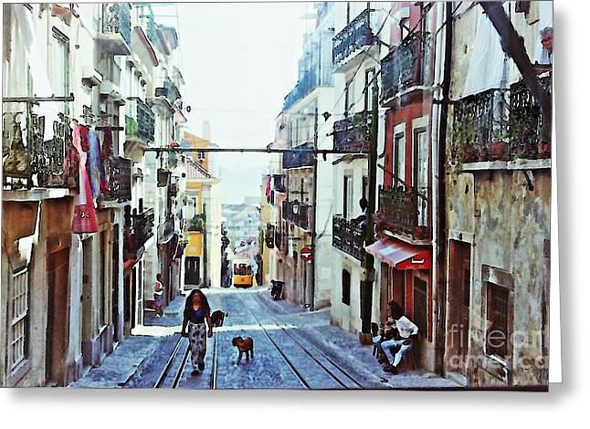 Lisboa Tram Route Greeting Card by Sarah Loft